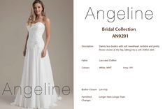 Bride dress Bridal by Anenia Chiffon Skirt, Lace Bodice, Pretty Flowers, Bridal Collection, Bridal Dresses, One Shoulder Wedding Dress, Lace Up, Colours, Bride