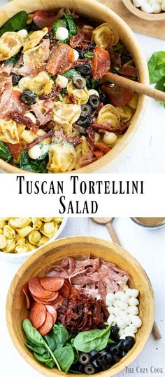 This tortellini salad is loaded with classic flavors of Tuscany, including mozzarella, pepperoni, salami, olives, sun-dried tomatoes, and more. Better yet, it can be served warm or chilled! #pasta #tortellini #italianfood #summerrecipes #sidedish #pastasalad #picnic
