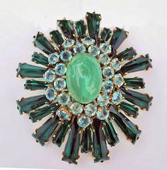 '50s Schreiner Ruffle Pin/Pend., Kite-Shaped & Inverted Stones, Swirled Cabochon