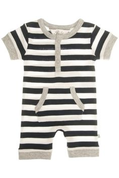 Bebe baby clothing Classic Stripe S/S Romper - Kids Rompers at Birdsnest Fashion