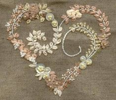 Lovely silk ribbon embroidered heart /khadijaannette/embroidery/ back - 4 LACE Ribbon Embroidery Flowers by Hand - Embroidery Patterns Silk Embroidery Dresses How To Make Silk Ribbon Embroidery Roses stitches and buttons and silk embroidery inspiration SI Silk Ribbon Embroidery, Beaded Embroidery, Cross Stitch Embroidery, Embroidery Patterns, Hand Embroidery, Embroidery Supplies, Machine Embroidery, Embroidery Books, Embroidery Materials