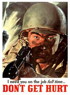 .Great poster for the civilian population reminding them they have to be healthy to work for the war effort.