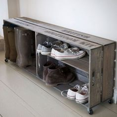 51 ideas storage unit design wooden boxes - For the Home - . - 51 ideas storage unit design wooden boxes – for the home – # Storage unit boxes - Shoe Storage Crates, Boot Storage, Crate Storage, Shoe Storage With Wheels, Diy Storage, Shoe Rack On Wheels, Outdoor Shoe Storage, Shoe Cubby, Storage Benches