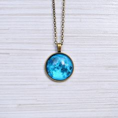 Blue moon pendant  Full moon Necklace  Space galaxy by AyoBijou