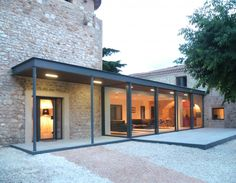 'Maison Z' ('house Z'), Architect Gil Percal House Extension Design, Glass Extension, Modern Exterior, Exterior Design, Casa Loft, Modern Garden Design, House Extensions, Stone Houses, Modern Buildings