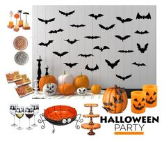 """""""Halloween Party Decor - Polyvore Contest"""" by helen5526 ❤ liked on Polyvore featuring interior, interiors, interior design, home, home decor, interior decorating, Improvements, Tag and Crate and Barrel"""