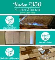 #Diy Kitchen Makeover for under $350 from weekend craft. Kitchen Renovation on a Budget.