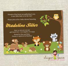 Forest Friends Woodland Animals Baby Shower Invitation - Digital JPG File, You print - 5x7. $10.00, via Etsy.