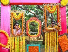 25 Fun & Fab Mehendi Decor Ideas From Real Indian Couples' Celebrations Desi Wedding Decor, Wedding Stage Decorations, Wedding Mandap, Indian Wedding Photos, Indian Wedding Photography, Indian Weddings, Mehendi Decor Ideas, Mehndi Decor, Diwali Photos