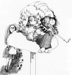 Alice in Wonderland. The Caterpillar and Alice. By Ralph Steadman. Lewis Carroll, Ralph Steadman, Ink Illustrations, Book Illustration, Hunter S Thompson, George Orwell, Children's Picture Books, Adventures In Wonderland, Psychedelic Art