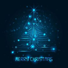 Free Vector Digital Merry Christmas text with abstract blue glowing Technology made tree Christmas background illustration