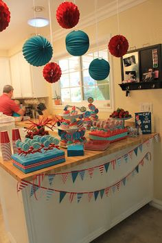 Cat in the Hat Birthday Party. This was put on by a friend's daughter and her friend for their four-year-olds. I'm just doing my part to share their creativity. Best Picture For Cat birthday party ide Dr Seuss Birthday Party, Cat Birthday, First Birthday Parties, Birthday Party Themes, Birthday Ideas, Cat In The Hat Party, Twin First Birthday, Twins 1st Birthdays, Party Ideas