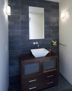 continuity of backsplash and floor   Powder Room Design Ideas, Pictures, Remodeling and Decor