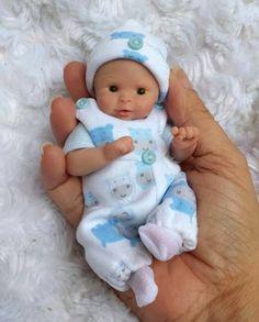 "Miniature OOAK hand SCULPTED newborn BABY BOY clay ART doll toy Dawn McLeod 4.5"""