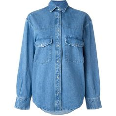 Golden Goose Deluxe Brand classic denim shirt (7.230 RUB) ❤ liked on Polyvore featuring tops, shirts, blue, denim collar shirt, long sleeve shirts, blue top, long sleeve denim shirt and blue shirt