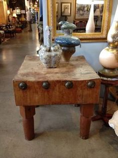 Antique Butcher Block Table 895