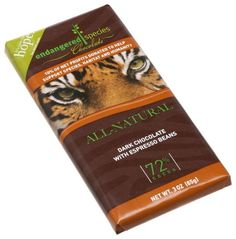 Endangered Species Tiger, Dark Chocolate (72%) with Espresso Beans, 3-Ounce Bars (Pack of 12)
