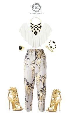 """""""White and gold *_*"""" by ermina996 ❤ liked on Polyvore featuring Rochas, WearAll, Amrita Singh, Giuseppe Zanotti and urbancarats"""