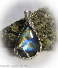 Wire Wrapped Stone Pendants | Bright Flash Labradorite Wire Wrapped Stone by superioragates, $45.00