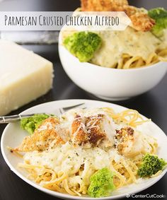 Parmesan Crusted Chicken Alfredo - an easy recipe the whole family will love!