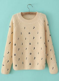 Apricot Long Sleeve Note Embroidered Sweater US$32.46