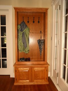 had an unused glass door gun cabinet...needed a coat rack. Still needs something...maybe paint