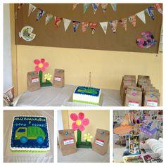 Grabage truck and recycle birthday Party theme.   Fiesta de cumpleaños con el tema del reciclaje y el camión de basura.