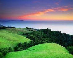 "sunsurfer: "" Ocean Sunset, Mount Tamalpais State Park, California photo by michael macareavey "" Beautiful Ocean, Amazing Nature, Beautiful World, Gaia, Ocean Sunset, Beautiful Places To Travel, Landscape Photographers, Beautiful Landscapes, State Parks"