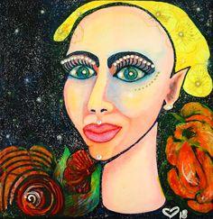 Glitter On Canvas, Glitter Acrylics, Small Paintings, Original Paintings, Original Art, Female Portrait, Female Art, Woman Portrait, Pen And Watercolor