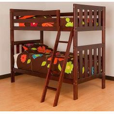 Canwood Alpine II Twin over Twin Bunk Bed with Angled Ladder and Guard Rail  Cherry Ads Cheap