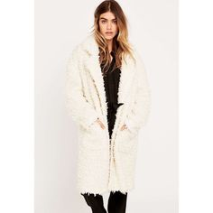 """Urban Outfitters MINKPINK cream fuzzy coat NWT Warm, fuzzy and cozy over sized coat! Just like wearing a fluffy bracket. Picture is very similar coat from MINKPINK with slightly different material. 80% polyester 20% acrylic center back on top from collar to hem measured 33"""" long. Urban Outfitters Jackets & Coats"""