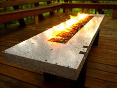 Fire Pit - Fire Table - Concrete and Glass - Propane or Natural Gas Fire Pit Table, Diy Fire Pit, Outdoor Projects, Outdoor Decor, Outdoor Living, Fire Pit Materials, Fire Pit Furniture, Outdoor Furniture, Fire Pit Ring