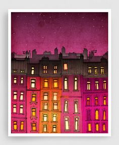 PARIS RED FACADE Paris illustration - Fine Art Print signed by the artist  ● SIZES: 5x7 to 20x30 inches with a 1/4 white border ● Check the landscape