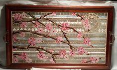 cherry blossom mosaic Tray- Jo Loa art