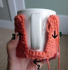 All About Ami - Cup Cozy Tutorial - Not sure what to do with that extra yarn! Make a coffee cup cozy!Cup Cozy Tutorial After making these amigurumi cups, I thought I'd try my hand at making some actual cup cozies since I love drinking tea. Crochet Coffee Cozy, Crochet Cozy, Cute Crochet, Mousse Au Chocolat Torte, Crochet Kitchen, Crochet Accessories, Yarn Crafts, Single Crochet, Coaster