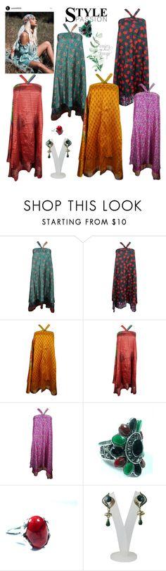 """Printed Long Wrap Skirt"" by era-chandok ❤ liked on Polyvore featuring skirt, maxiskirt, printedskirt and beachskirt"