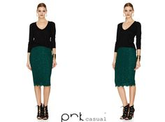 Green lace skirt by PNK casual. Casual Winter, Green Lace, Skirt Pants, Fashion Brand, Lace Skirt, Happiness, Skirts, How To Wear, Jackets