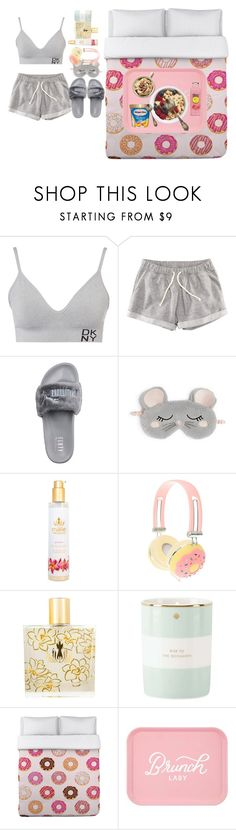 """ino yamanaka look's pijama"" by evellynjones on Polyvore featuring moda, DKNY, H&M, Puma, Oysho, Malie Organics, Kate Spade, One Bella Casa e Disney"