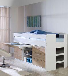 Cooles Hochbett mit integriertem Schreibtisch. Ideal für kleine ...