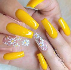 Nails, acrylic nails, coffin nails long, acrylic nail designs, nail a Acrylic Nails Yellow, Yellow Nail Art, Summer Acrylic Nails, Best Acrylic Nails, Summer Nails, Pastel Yellow, Spring Nails, Cute Acrylic Nail Designs, Nail Designs Spring