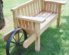 VINTAGE WHEELBARROW SETTEE Wood Bench... Mobility in the yard to pursue the shade!
