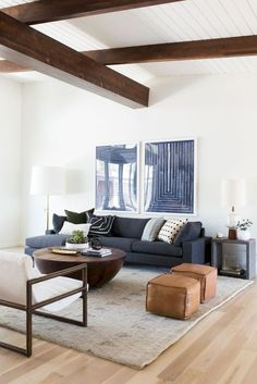 Mid Century Modern Living Room Decor Ideas 43 White and wood ceiling.