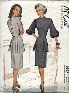 Vintage 1940s Dress Pattern Back Button Pleated Peplum Blouse and Straight Skirt 1946 McCall 6627 by sydcam123