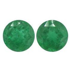 3.70 ct Pair of Round Emeralds Grass Green -Gold Crane & Co.