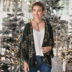 ENCHANTED FOREST KIMONO, presented by Robert Redford's Sundance Catalog. Bask in the comfort and divine beauty of our open-front, velvet kimono; rich with embroidery and the subtle sparkle of metallic thread. Boho Kimono, Kimono Cardigan, Kimono Jacket, Kimono Top, Coats For Women, Jackets For Women, Clothes For Women, Boho Outfits, Fashion Outfits