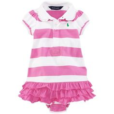 Ralph Lauren Childrenswear Infant Girls' Ruffle Skirt Rugby Dress ($21) ❤ liked on Polyvore