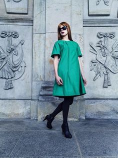 Green A-Line Dress - Fall Winter 2013 Ibrahim Lopez Couture