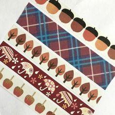 Washi Tape Fall Autumn Plaid Leaves Rain Caramel