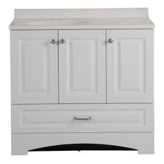 Glacier Bay Lancaster 36 in. W Side Drawer Vanity in White with Alpine Composite Vanity Top in - The Home Depot Powder Room Decor, Diy Bathroom, White Sink, Vanity, Granite Vanity Tops, White Washed Oak, Cultured Marble Vanity Top, Vanity Top, Bathroom Design