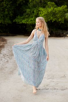SPRING SALE! Enjoy an additional 50% off sale prices! Multi Stripe Silk Maxi Dress